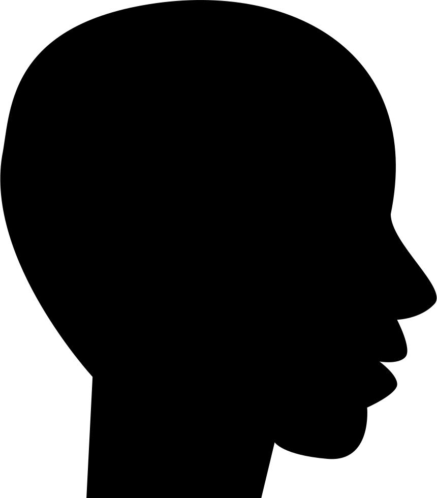 Shape svg black silhouette. Head side view of