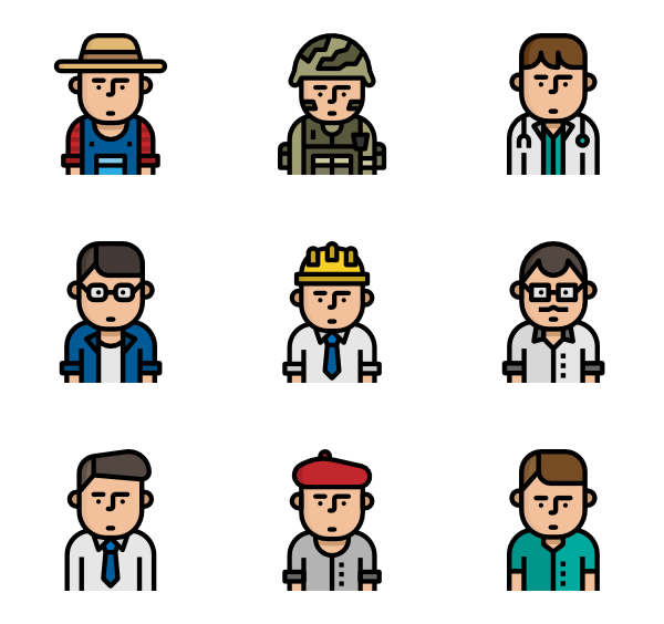 Male vector flat. Man icons free vocation