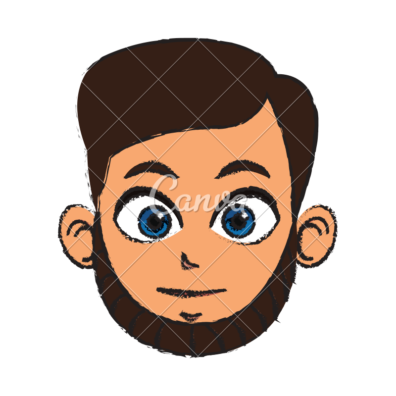 Male vector front face. Man avatar icons by