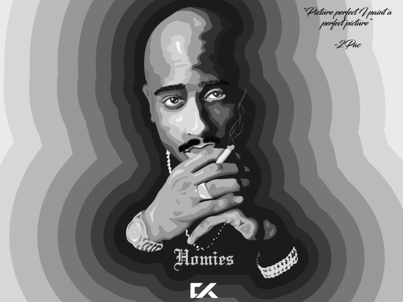 Rapper vector drawing. Pac portrait by