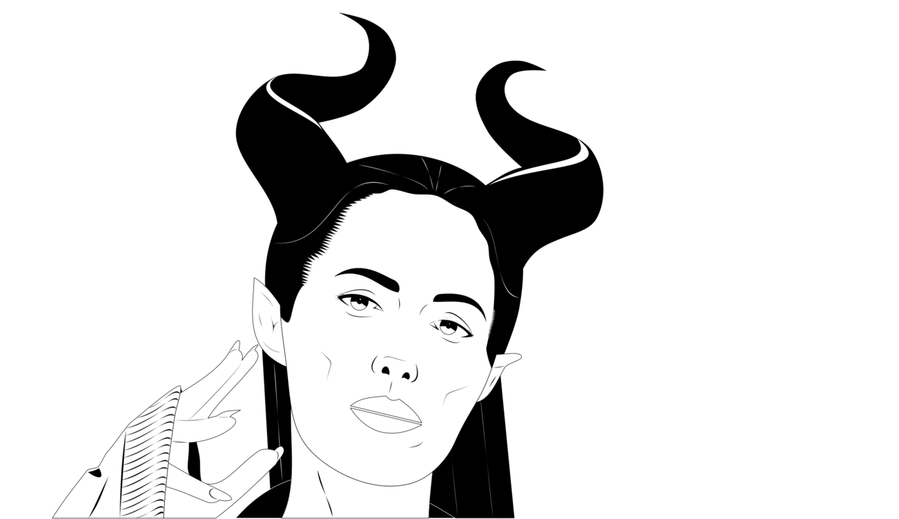 Maleficent vector cartoon. Drawing stick figure hairstyle