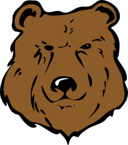 Grizzly drawing cute. Brown bear head clip