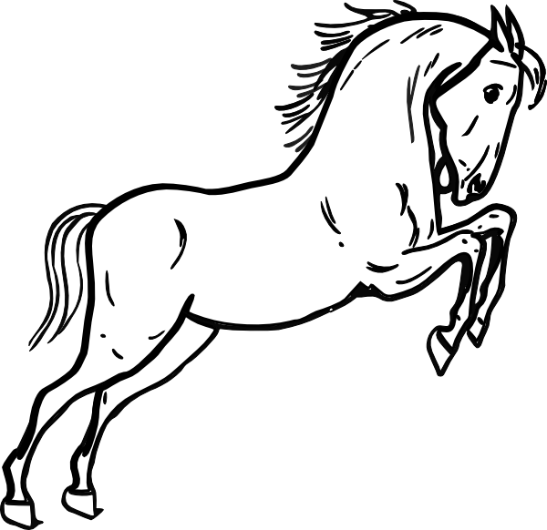 Mammal drawing horse. Jumping outline clip art