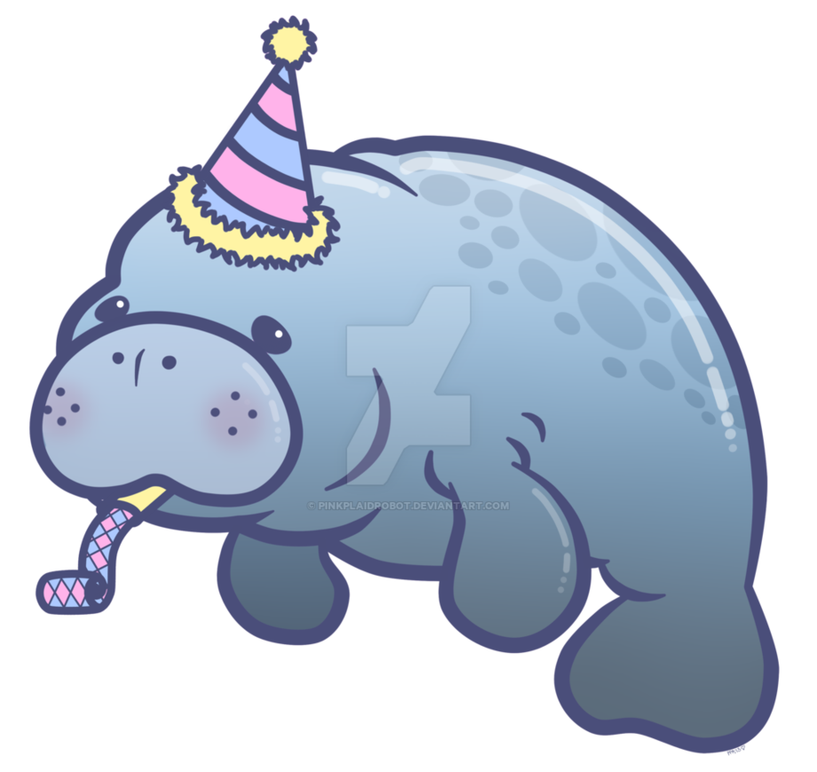 Mammal drawing sea cow. Party manatee charm design
