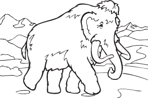 Mammoth vector outline. Coloring book clip art
