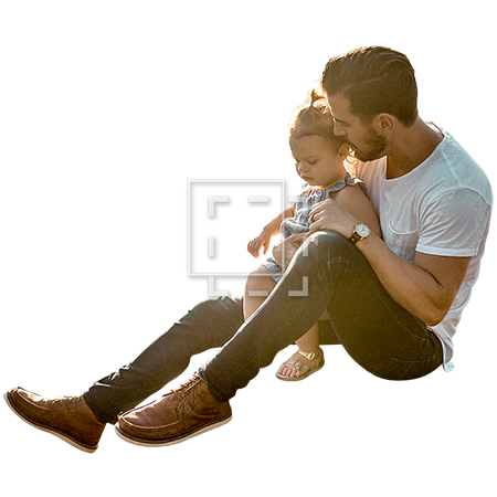 Man sitting down on floor png. Holding child ground parent