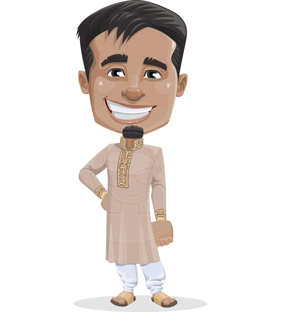 Easy vector cartoon person. Indian man character sunder