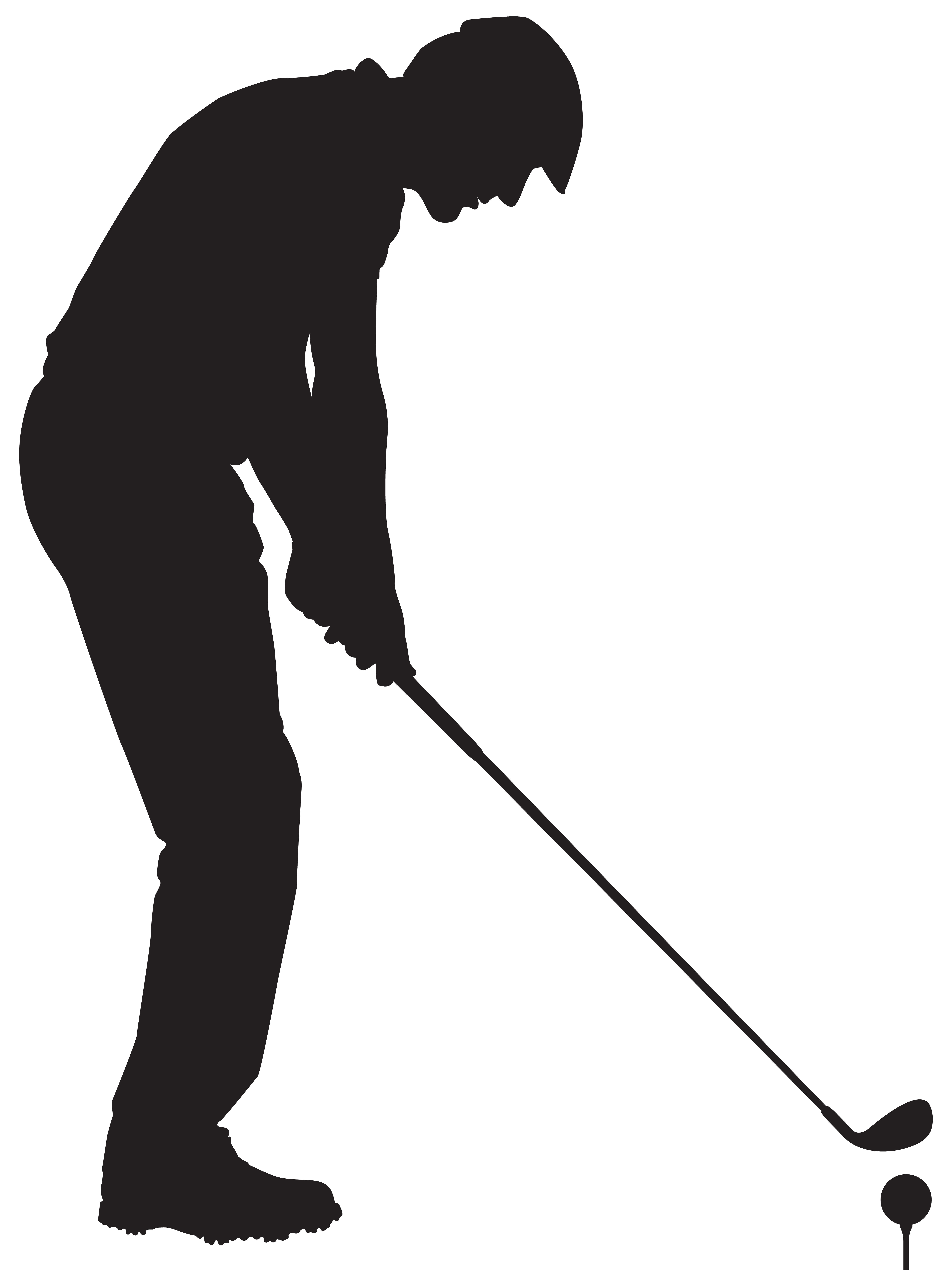 Man clipart golf. Playing silhouette png clip