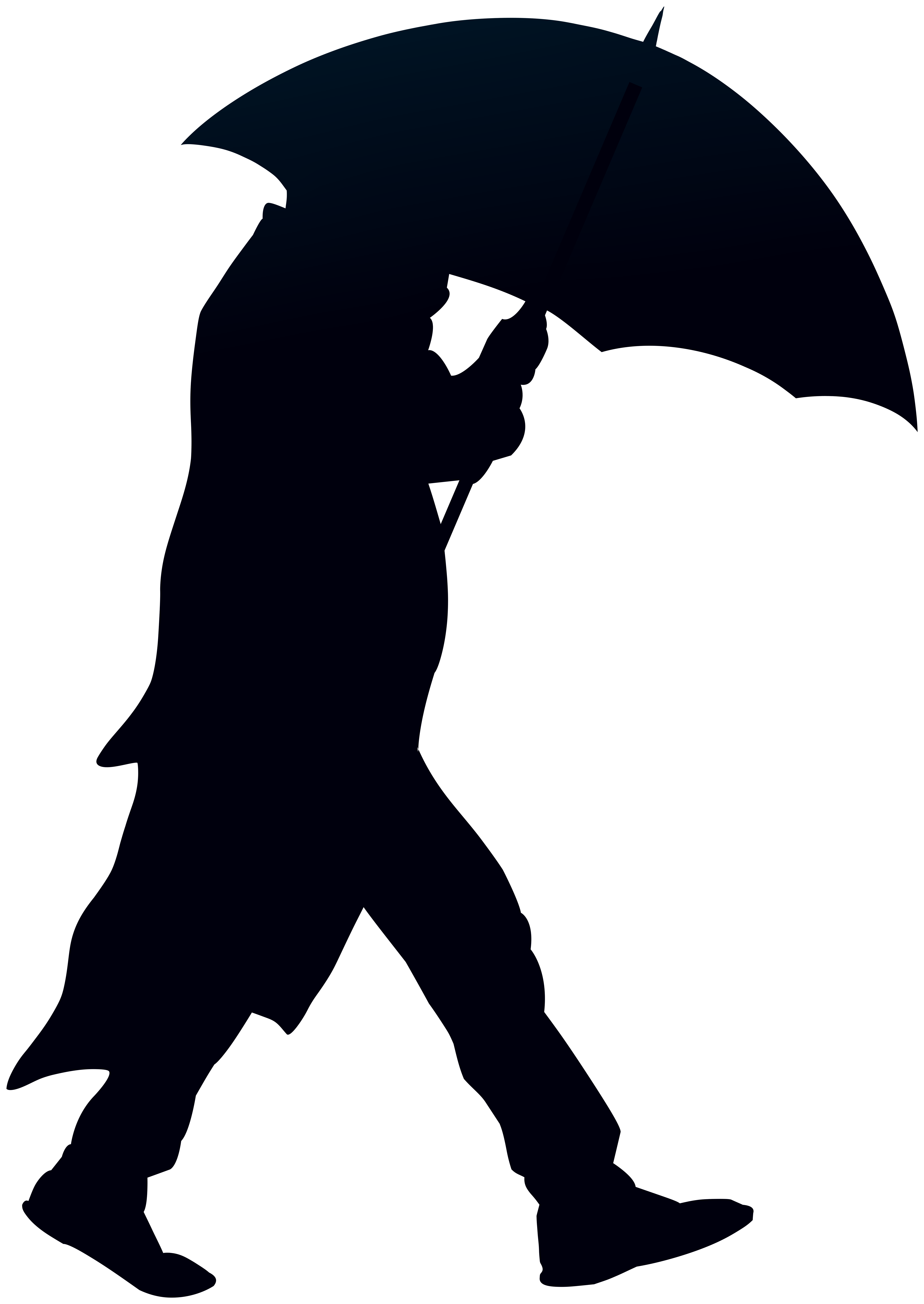 Umbrella clip silhouette. Man with png art