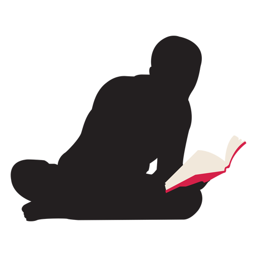 Man sitting on floor png. Reading silhouette transparent svg