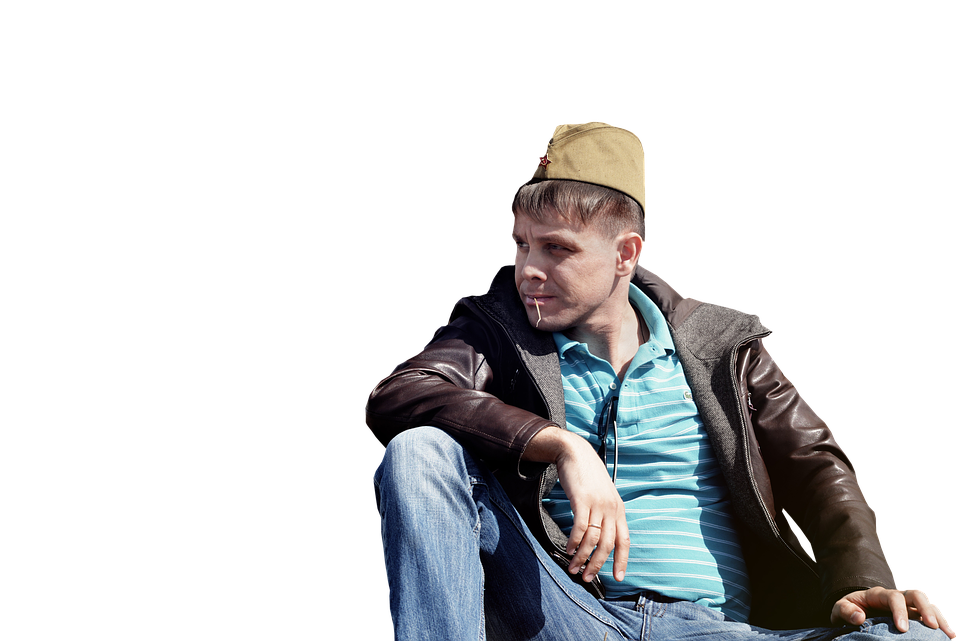 Man sitting on floor png. Free photo cap hat