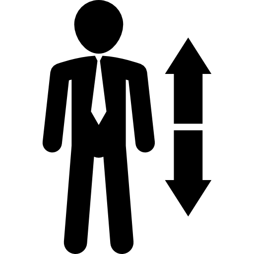 Man standing with arms folded vector png. Ascendant and descendant arrows