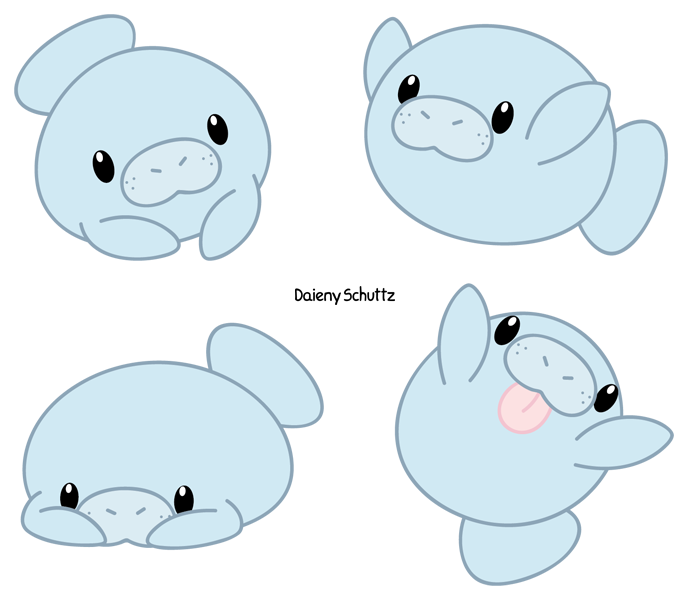 Porpoise drawing adorable. Chibi manatee by daieny