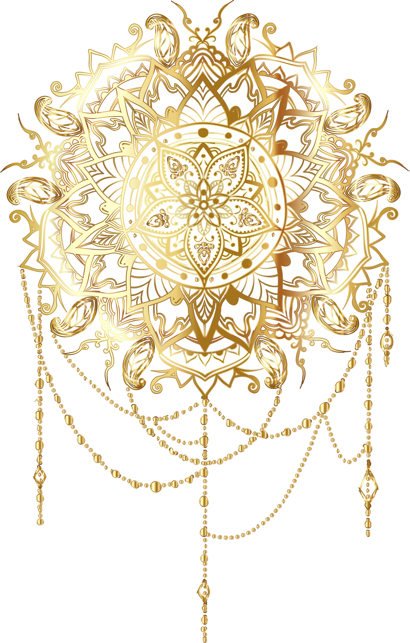 Mandala clipart small. Gold intricate floral no