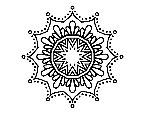 Mandala simple png. Snow flower coloring page