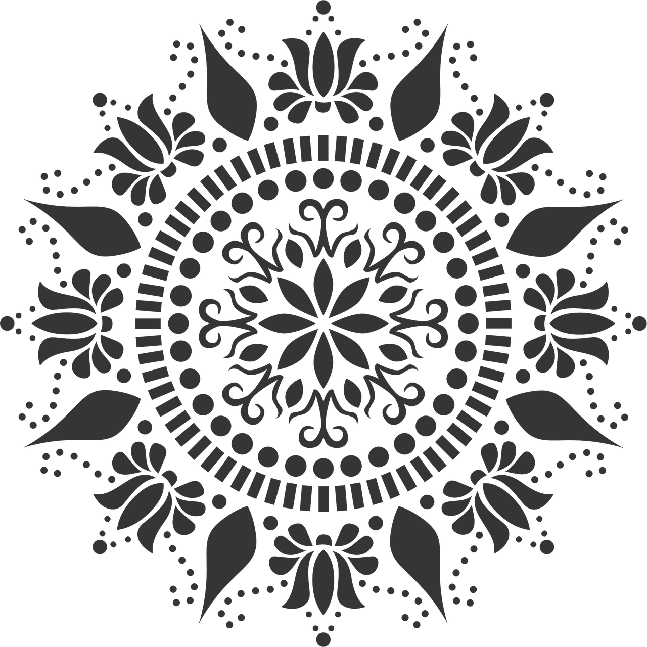 Mandala stencil png. Lotus easy and simple