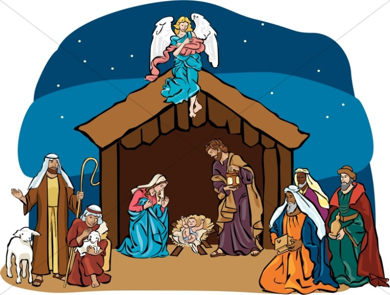 Christmas clipart nativity scene. With angel overhead