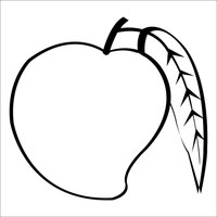 Mango clipart black and white. Letters n pencil in