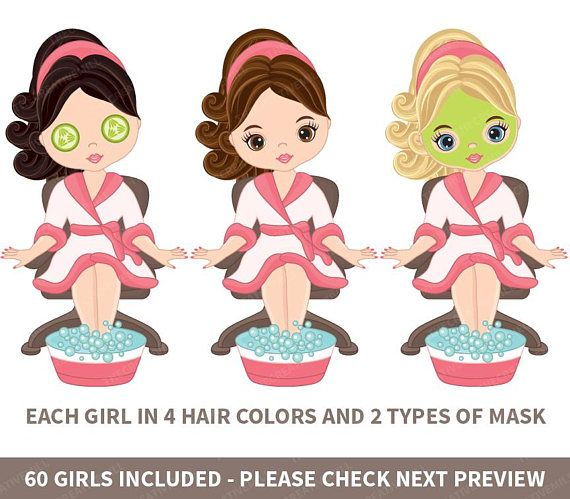Manicure clipart. Spa girls vector