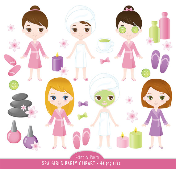 Spa clip art girls. Manicure clipart party clip art free library