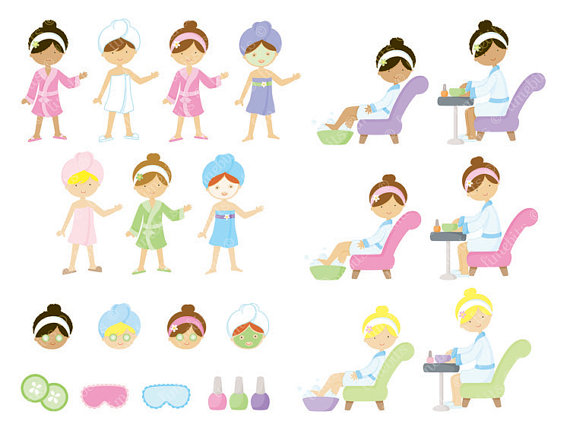 Manicure clipart party. Spa girls clip art