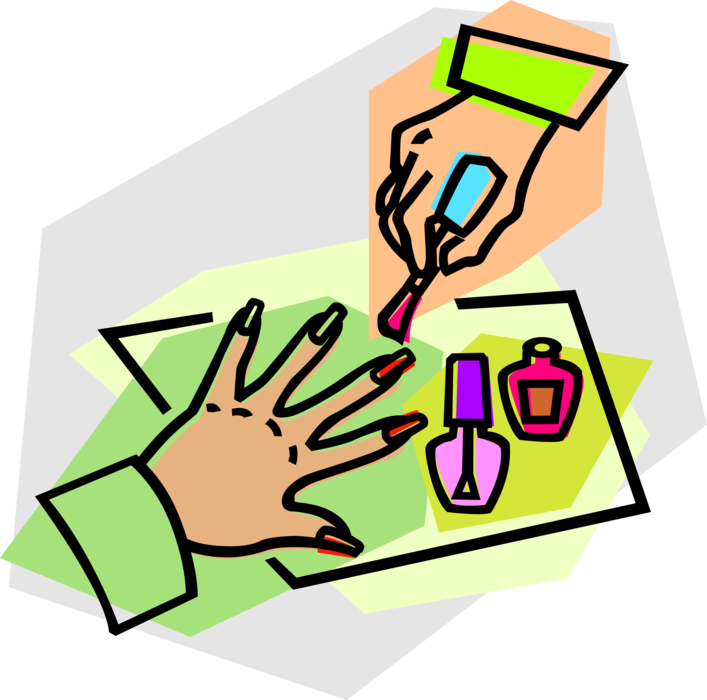 Manicure vector. Fingernails with nail polish