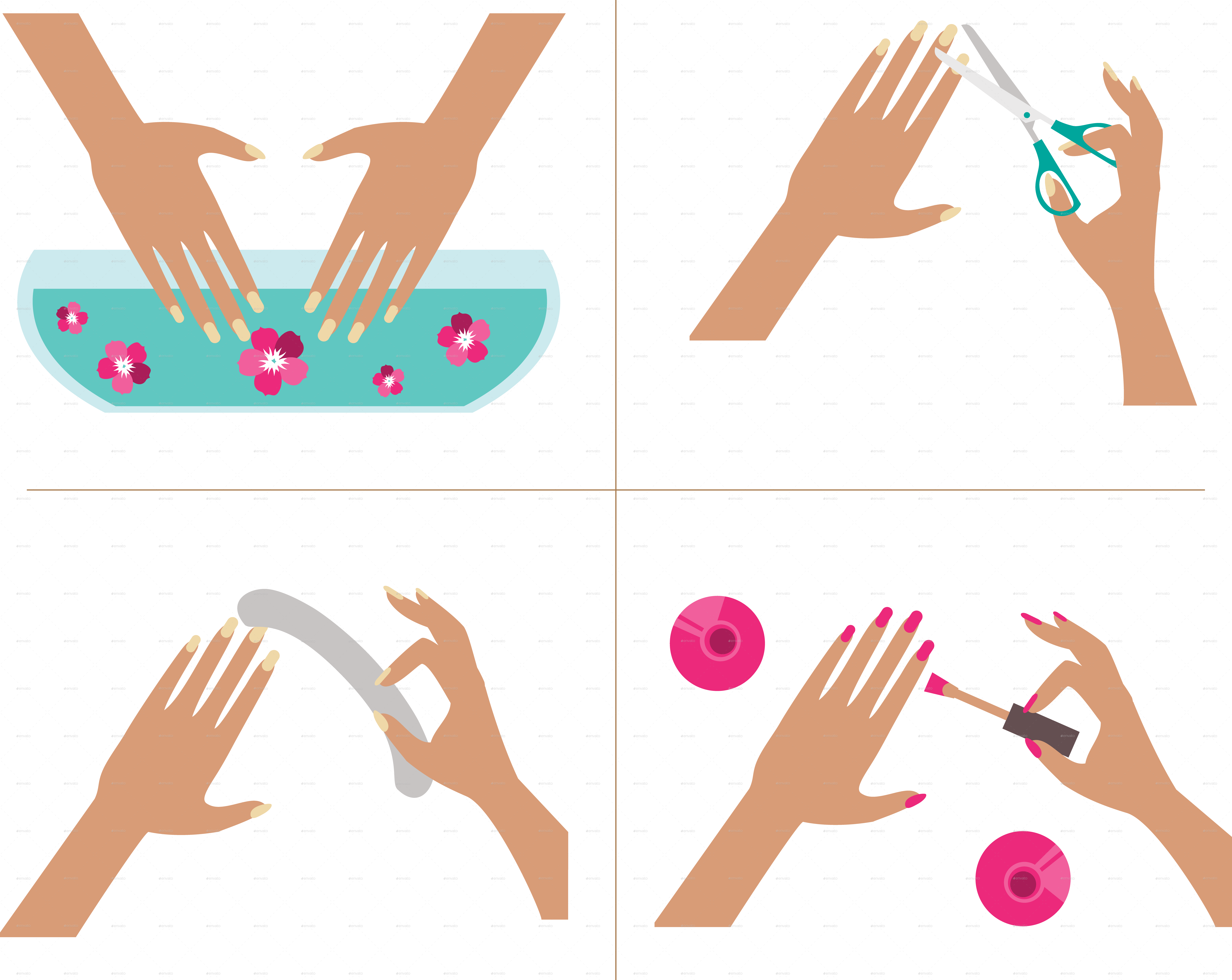 Manicure vector. Steps by artbesouro graphicriver