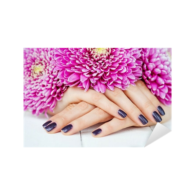 Manicure vector stylish. With dark fingernails and