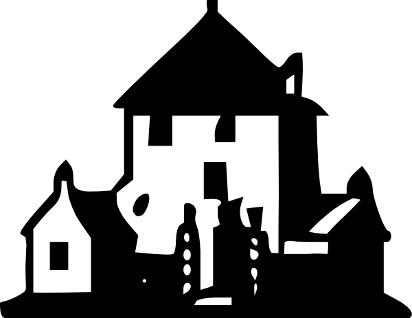 Mansion clipart. Black and white garden