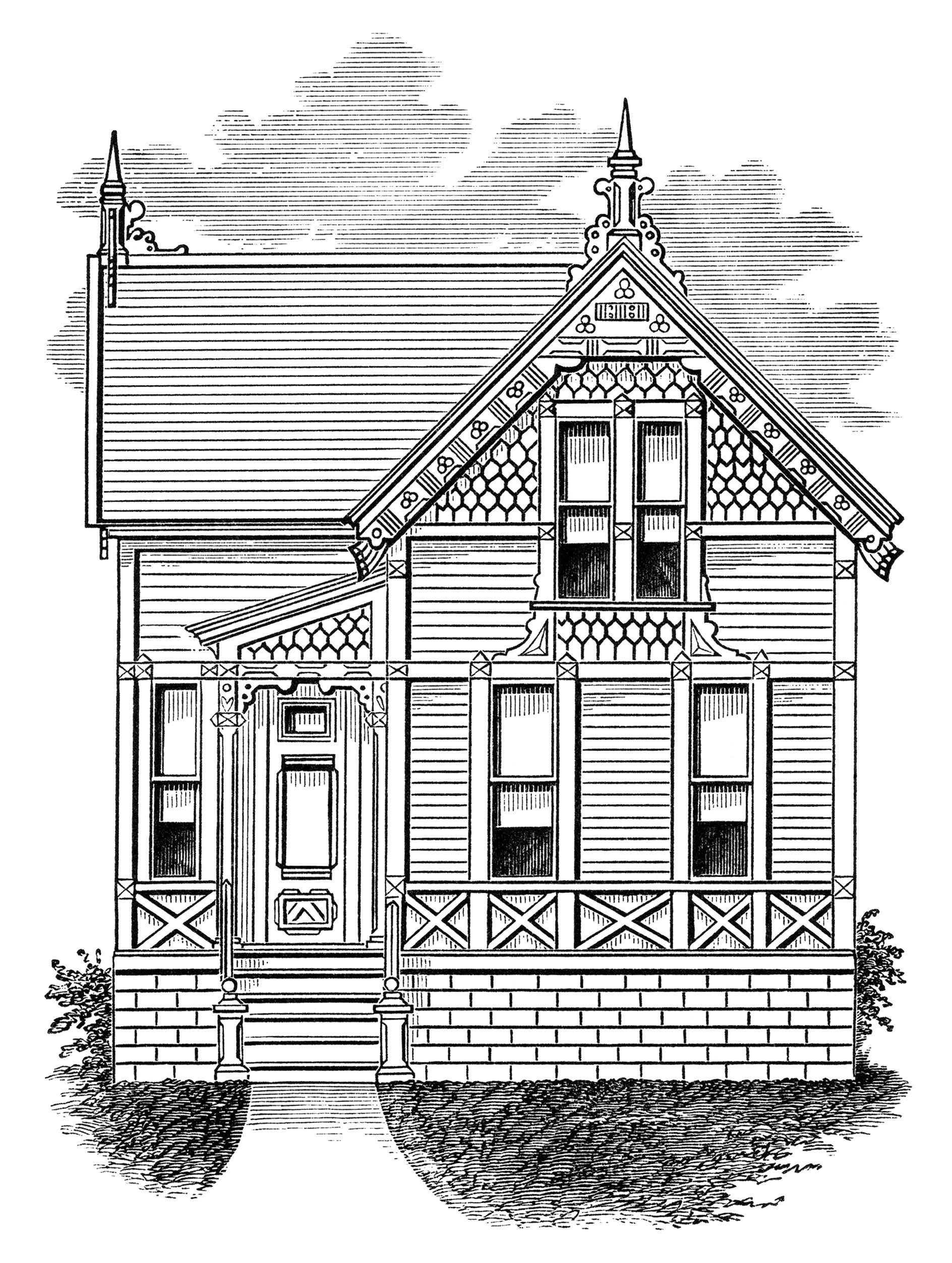 Mansion clipart property preservation. Small old house victorian