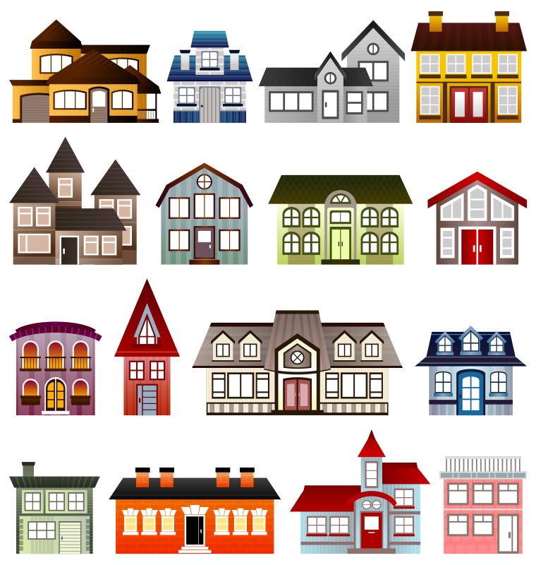 homes vector clip art