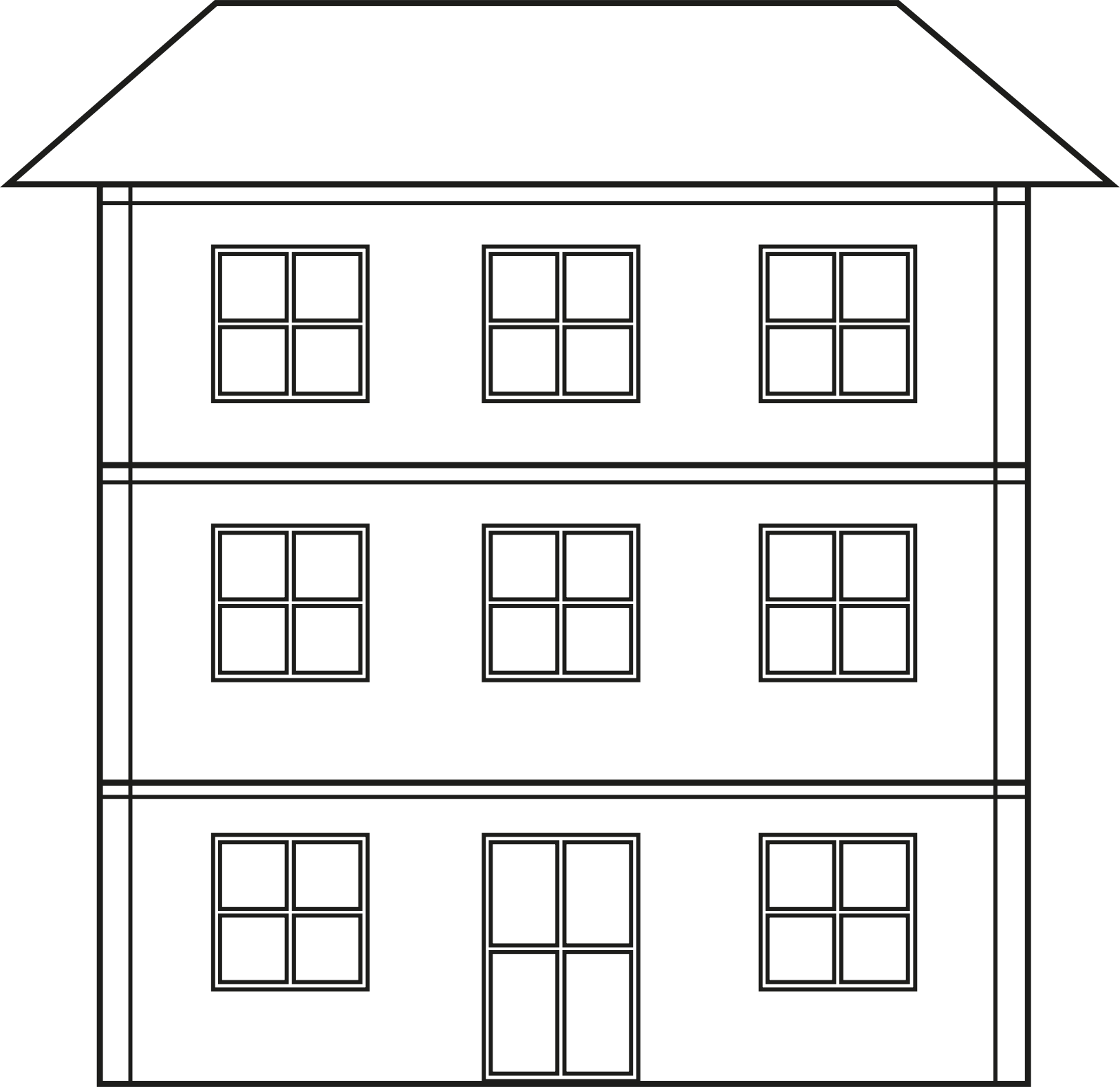 Building clipart black and white. House line drawing clip