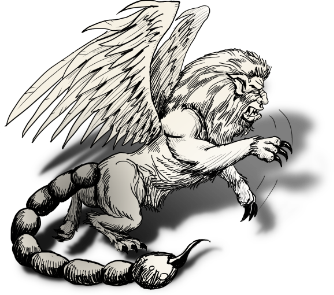 Manticore drawing. Jonathan green author gamebook