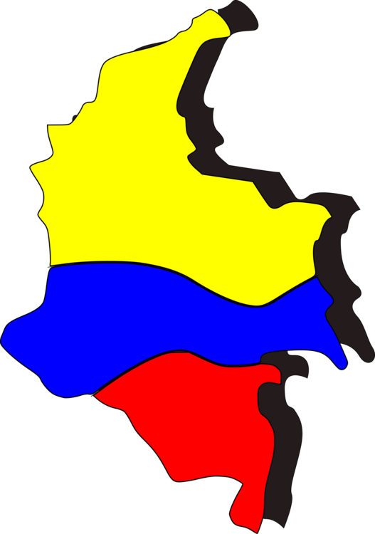 Map clipart catoon. Flag of colombia cartoon