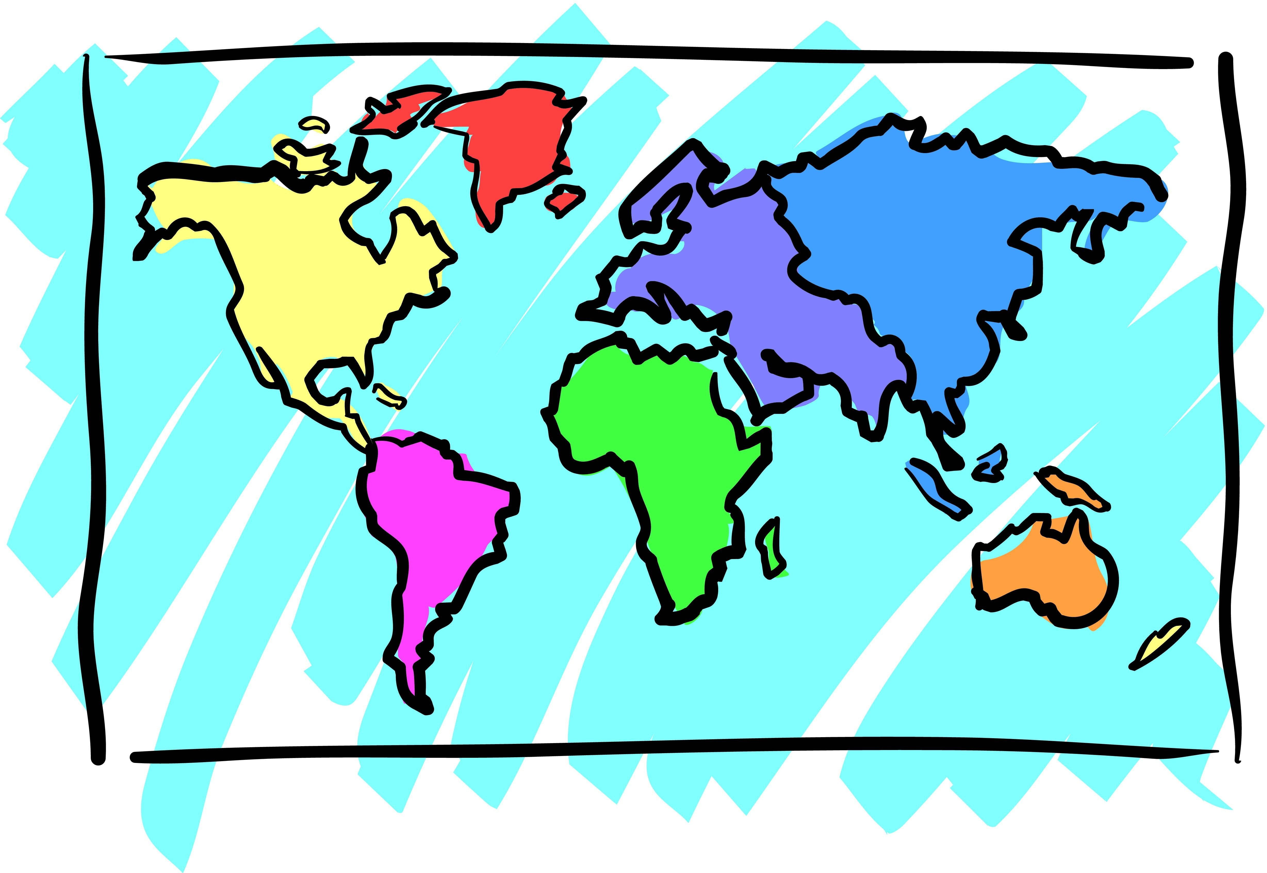World clipart line art. Map blank color new