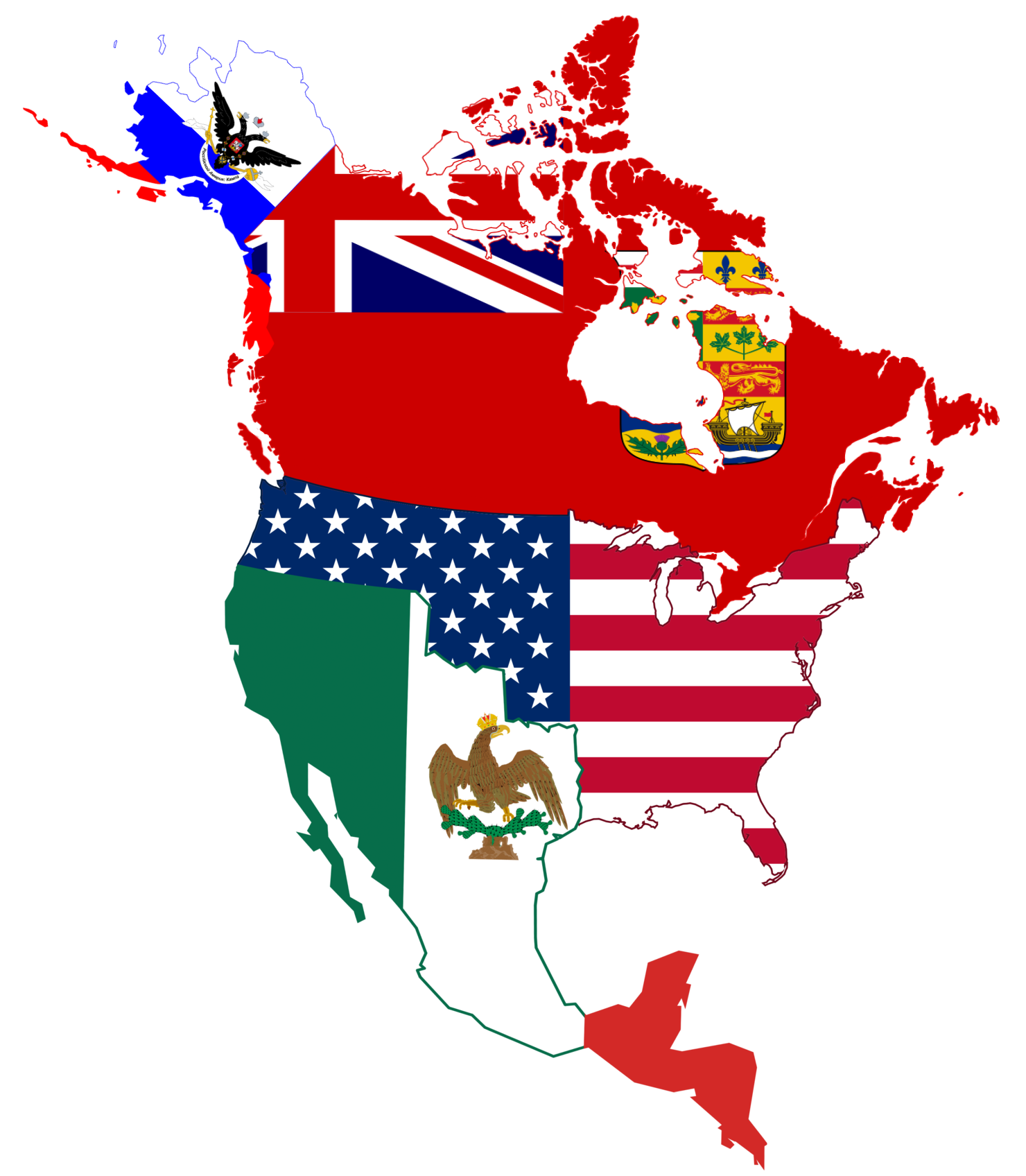 Usa flag map png. Improved file of canada