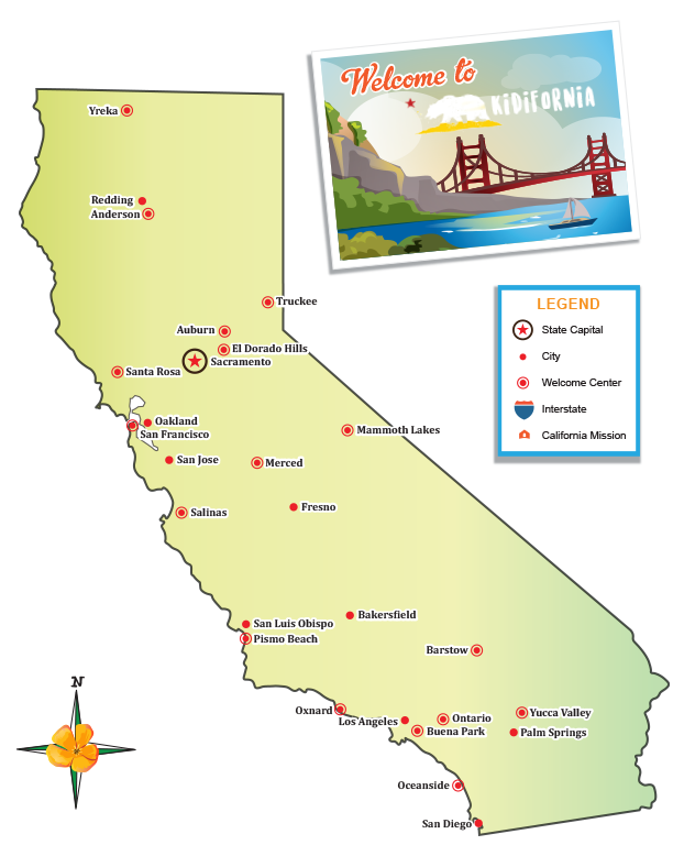 Map of california png. Visit little passports cities