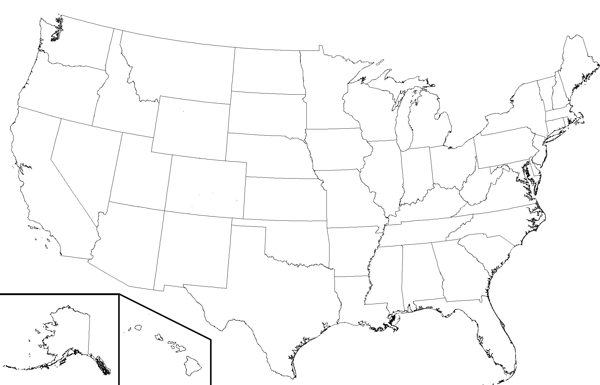 Blank Map Of Usa Transparent & PNG Clipart Free Download - YA-webdesign