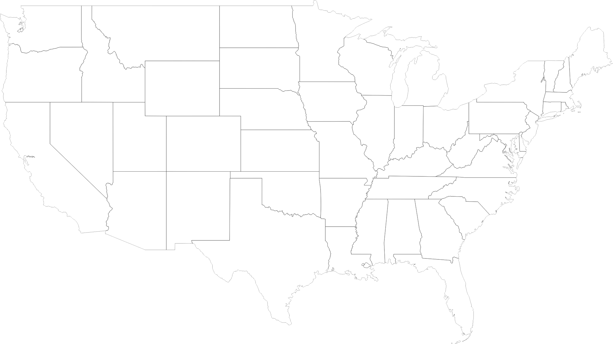 Map of usa black and white png. North america silhouette at