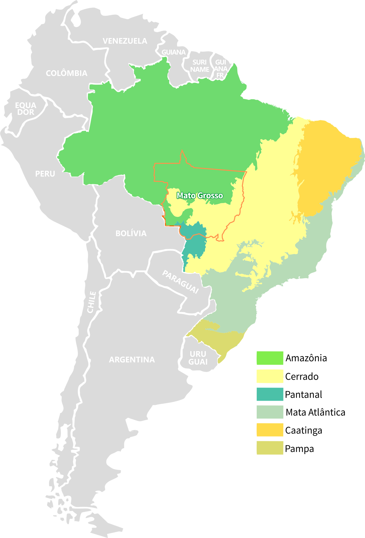 Mapa america png. Map of mato grosso