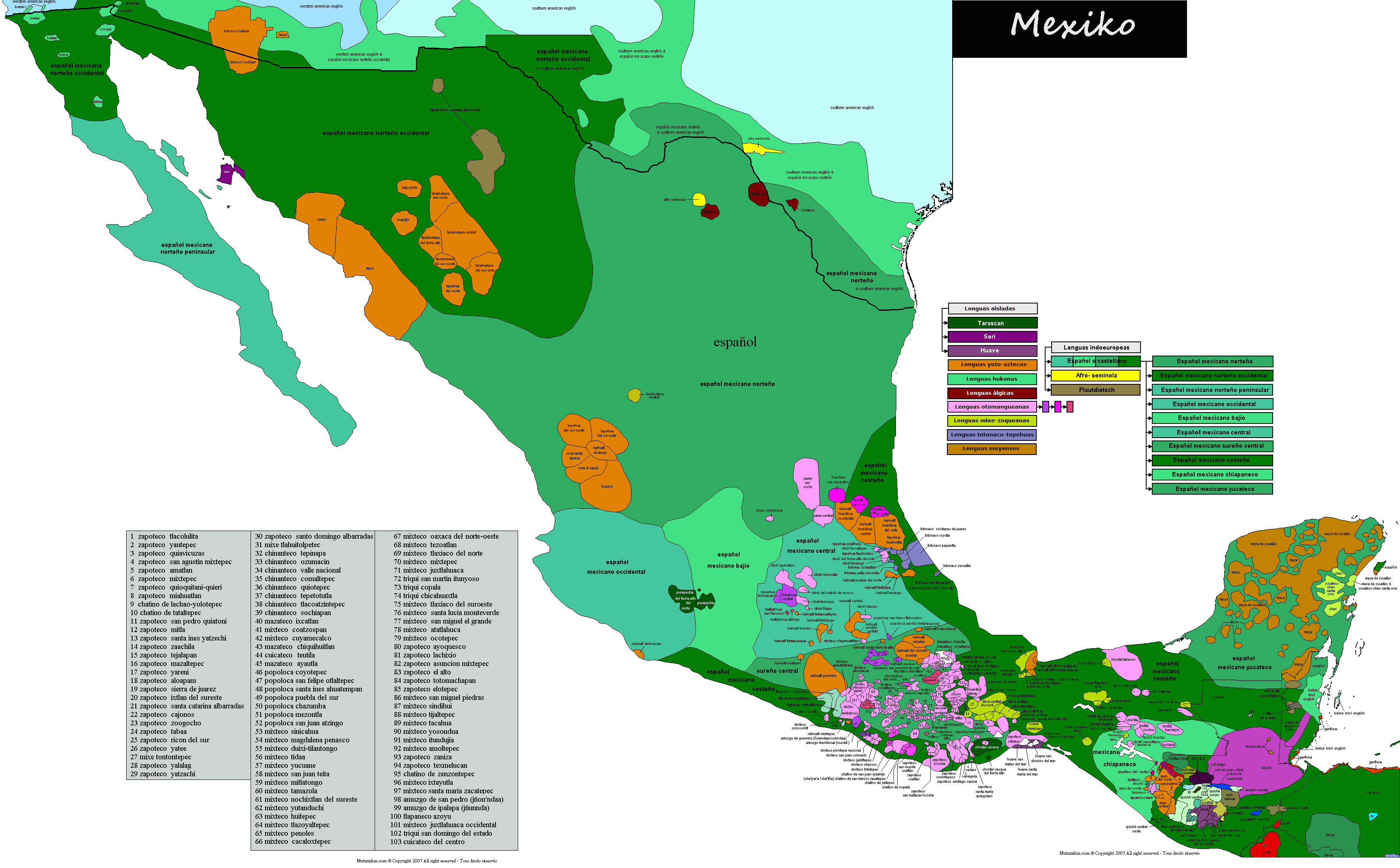 Mapa mexico png. Ling stico carte linguistique