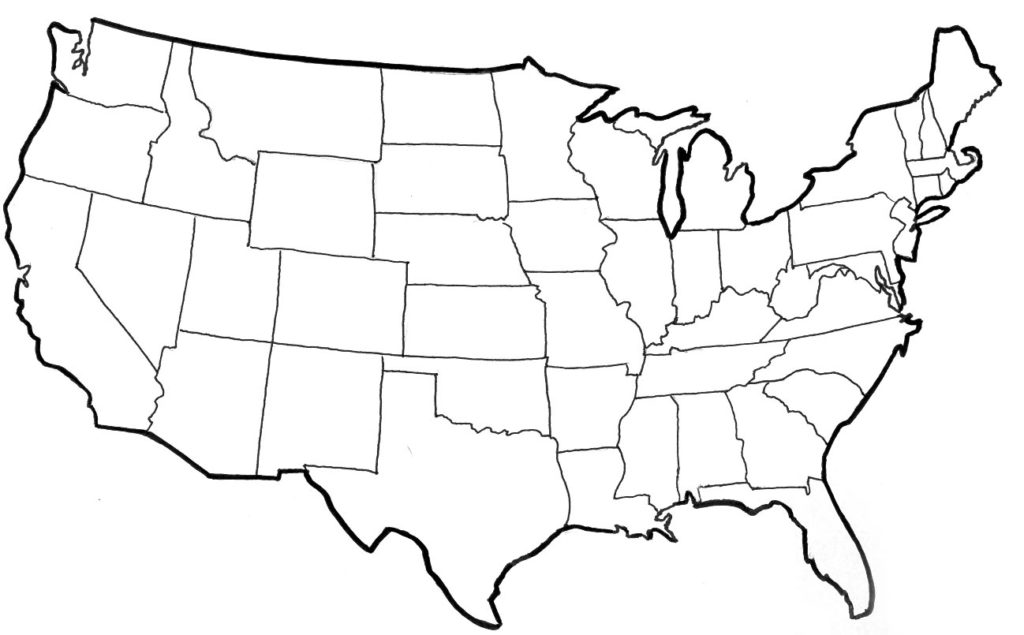 United states clipart blackline. Outline map can you