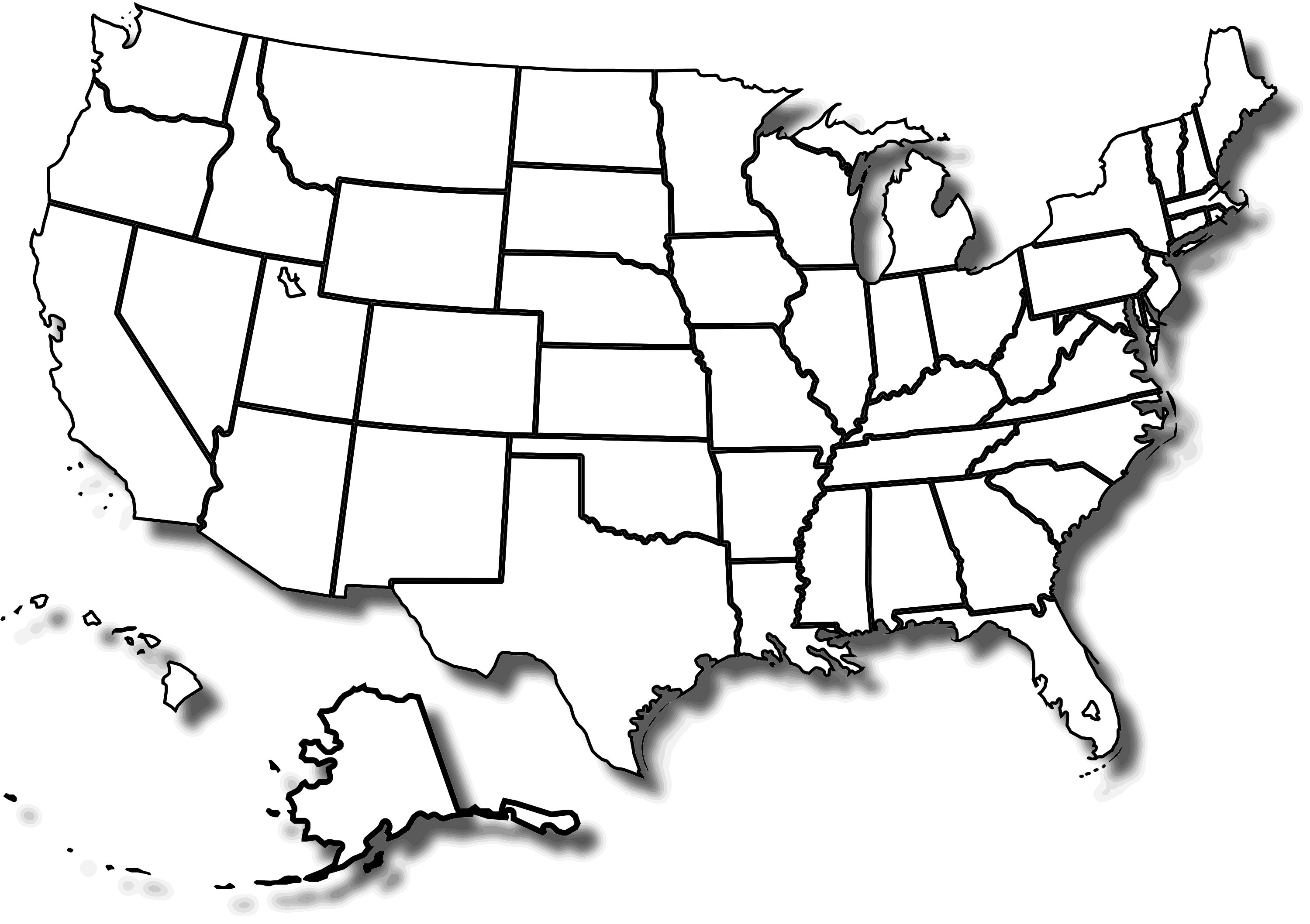 Maps clipart blank. Us state map printable