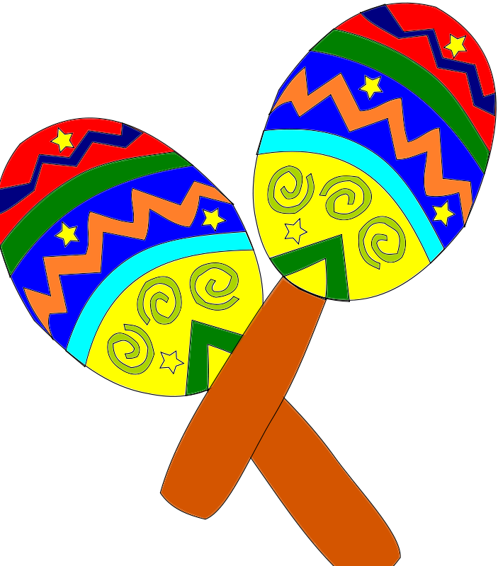Maracas drawing fiesta hat. Mexican svg library