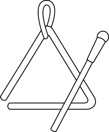 Triangle clip percussion instrument. Line art music for