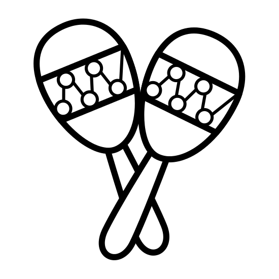 Maracas drawing black and white. Music instrument icons by