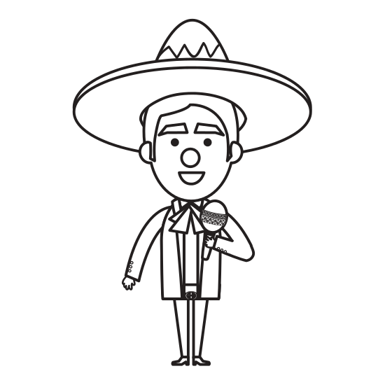 Maracas drawing mariachi. Mexican with icons by