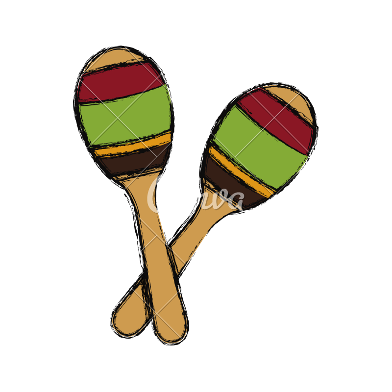 Maracas drawing percussion. Instrument icons by canva