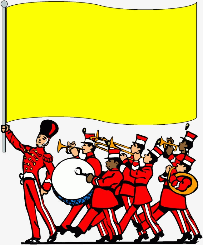 Marching clipart feb. Flags and band banner