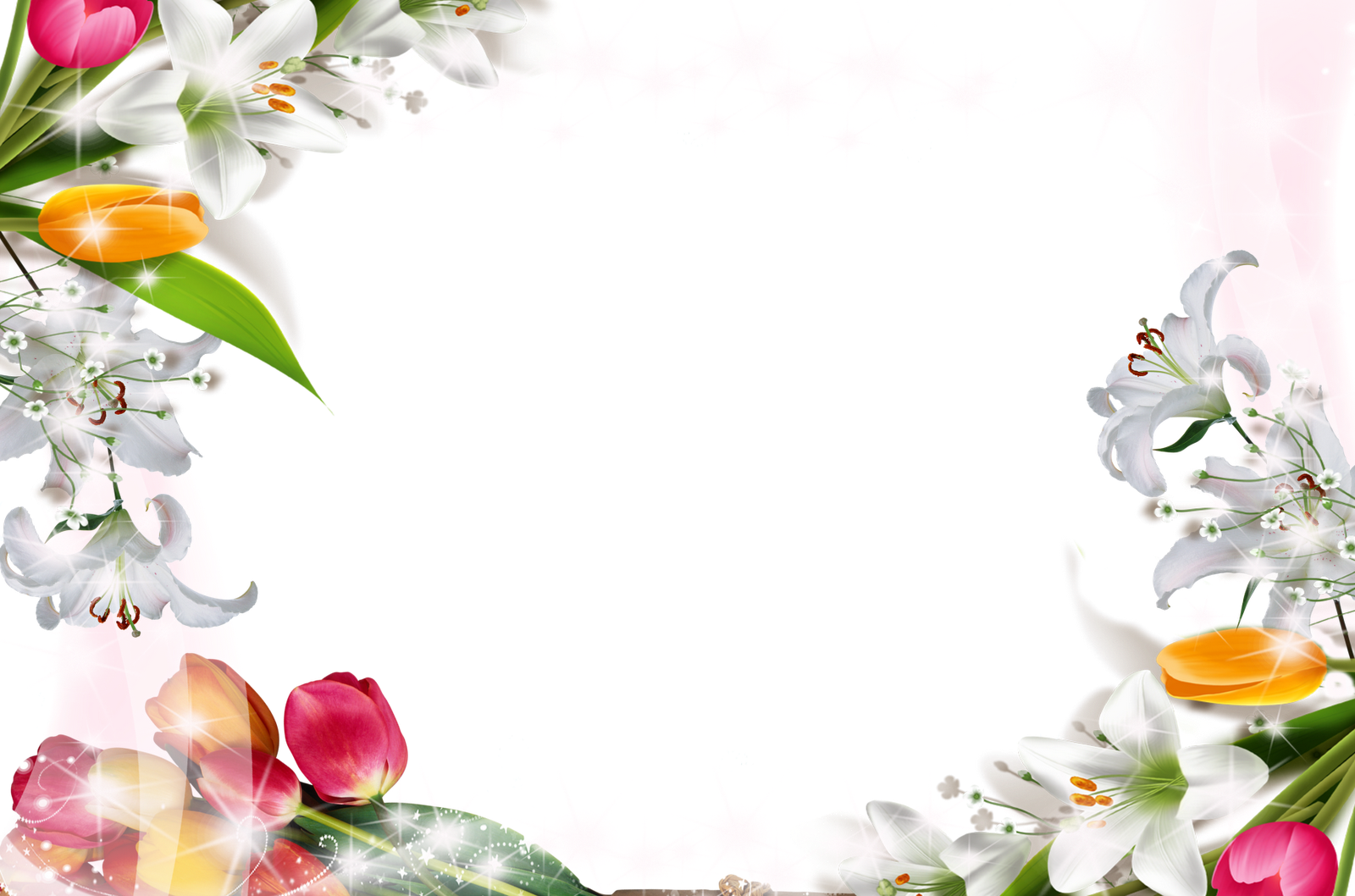 Spring frame png. White transparent with flowers
